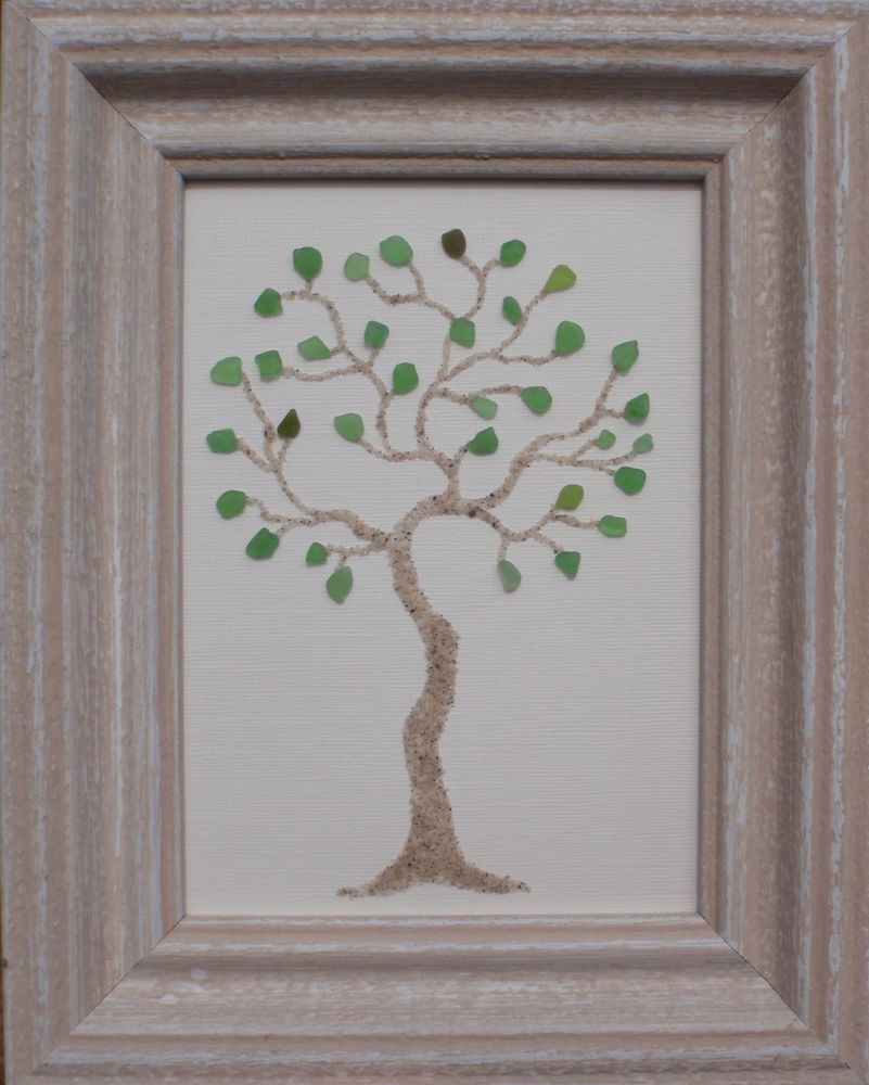 "real sea beach glass art - nautical decor ""tree"" 