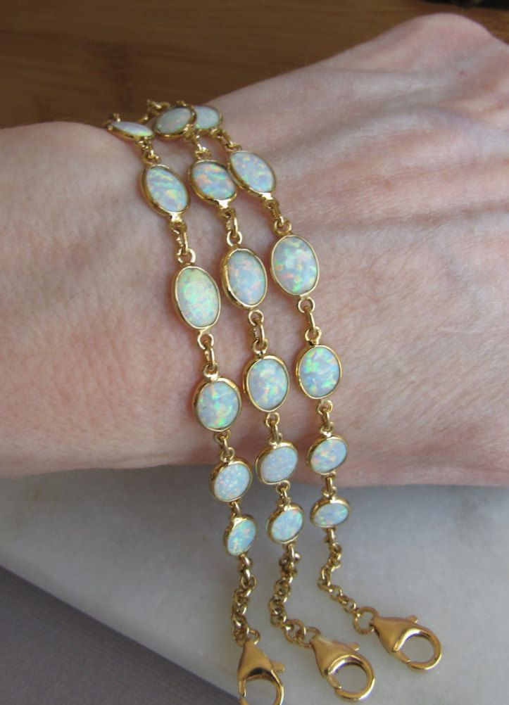 Opal Bracelet in Gold, October Birthstone Gift, Personalized Gemstone Jewelry, White Lab Opal, Perfect Bridesmaids Gift Ideas,Bridal Jewelry