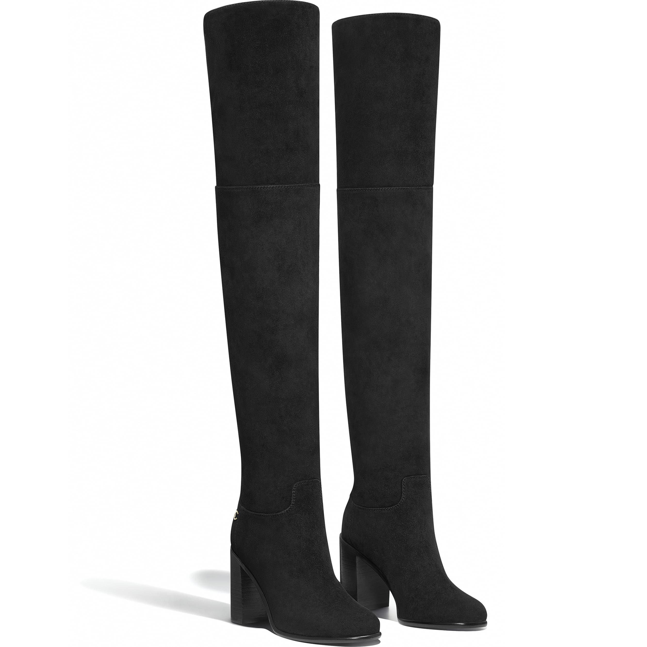 Chanel Pre Fw2018 19 Black Suede Calfskin Thigh High Boots 1 900 Thigh High Suede Boots Thigh High Boots Boots