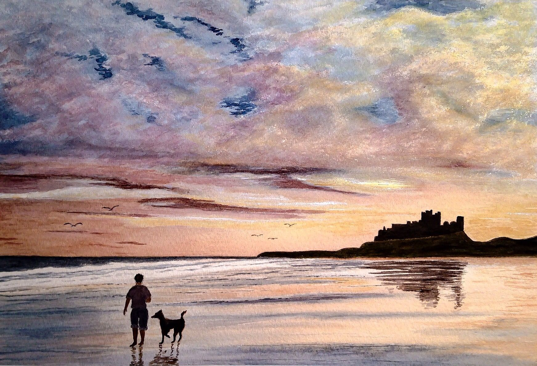 Walking The Dog One Evening On Bamburgh Beach My Watercolour Painting Castle Painting Beach Watercolor Painting