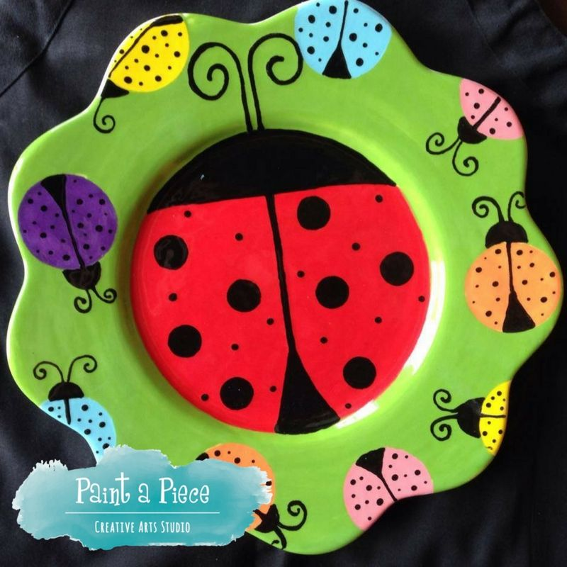 Ladybug dinner plate - painted pottery created at Paint a Piece in Memphis, TN.