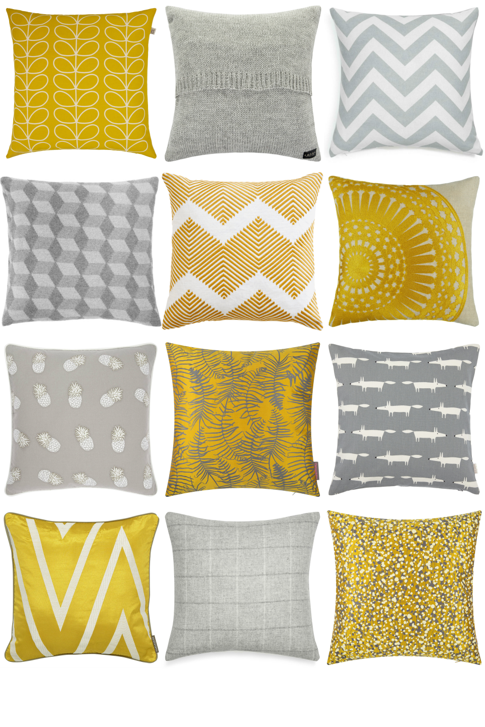 Yellow And Grey Cushions Inspiration Board In Diffe Textures Patterns Get Great Cushion Ideas For Your Living Room Or