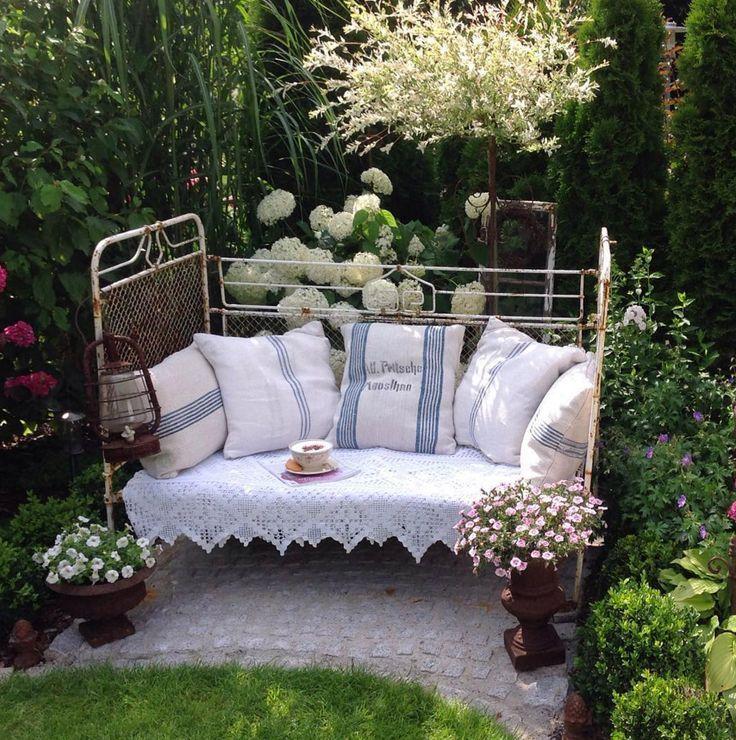 altes-eisenbett-garten-deko | garden | pinterest | eisenbett, Gartenarbeit ideen