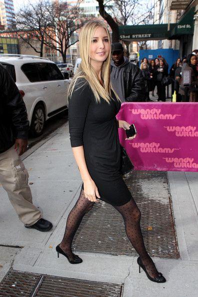 Black dress, patterned tights- Ivanka Trump