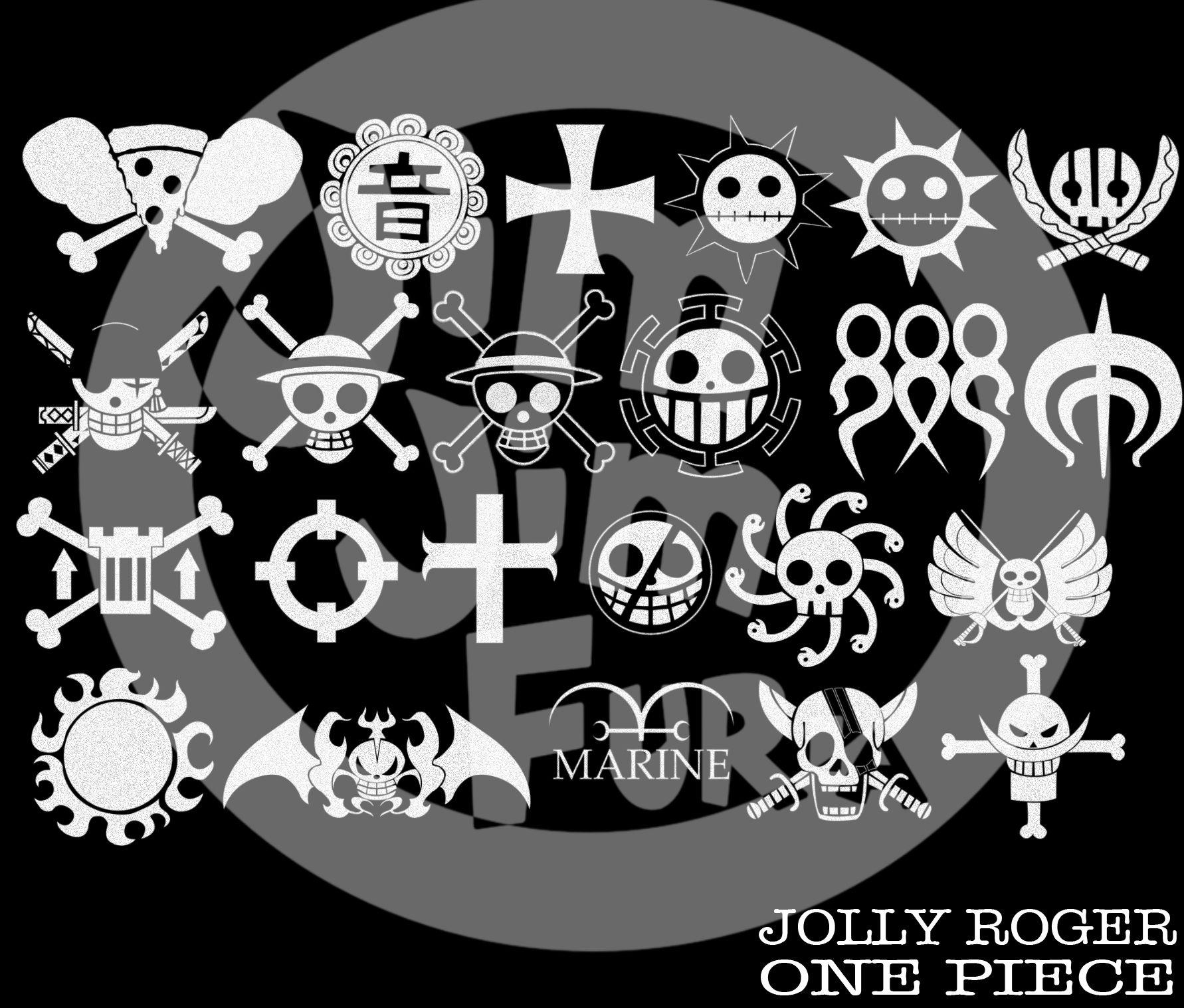 One Piece Jolly Roger Brushes Tatuagem Tatuagem Preta Desenhos