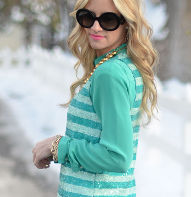 J.Crew Striped Sequin Shell   Bloggers Closet $20. Love the layering of this tank over the blouse.