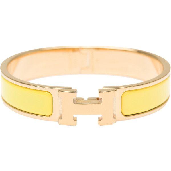 88db41188c7 Pre-Owned Hermes Jaune Citron Clic Clac H Narrow Enamel Bracelet PM ( 700)