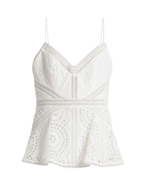 a4acb79ac00809 ZIMMERMANN Meridian Broderie-Anglaise Cotton Cami Top.  zimmermann  cloth   top