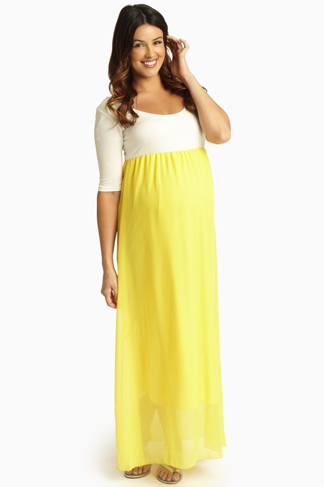 Yellow Summer Maxi Dresses Maternity
