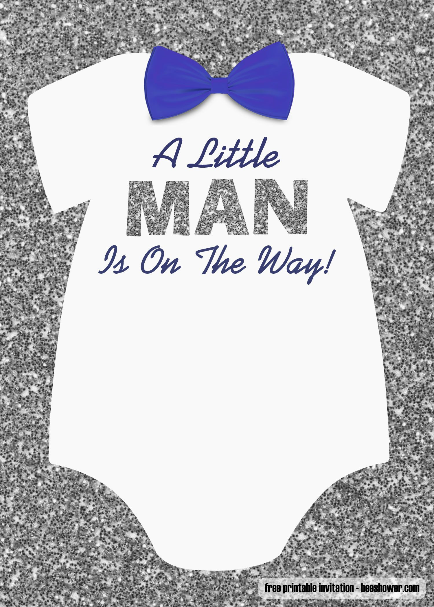 FREE Little Man Baby Shower Invitations Templates  FRE