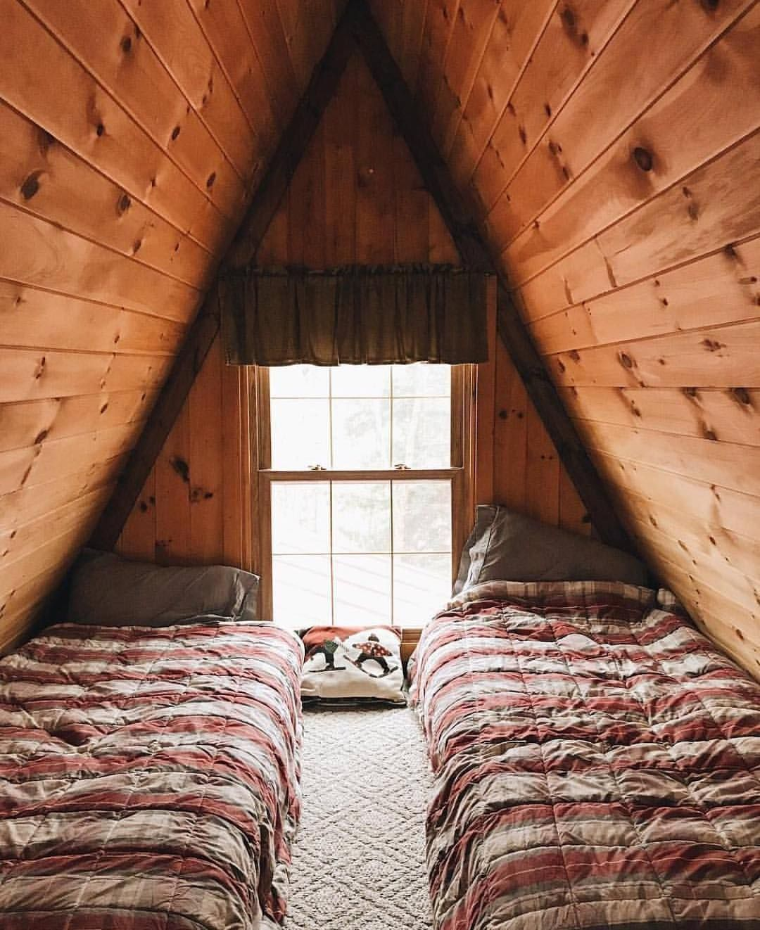 There S Just Something About An A Frame Attic A Bed That Gives Me The Cozy Sleepy Feels Goodnight To All Who Need A Frame House Wooden Cabins Cabin Decor