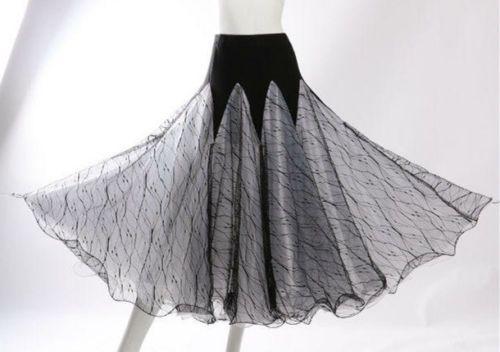 Ballroom Dance Skirt Long Practice Elastic High Waist Skirt Exercise Walt Dress