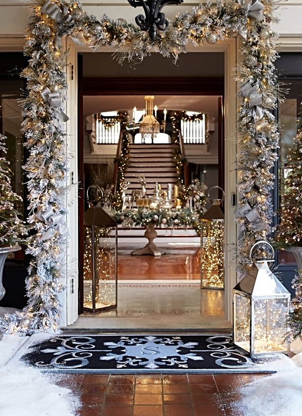 Beautifully Pre Lit With Clear Led Lights Our Flocked Norway Garland S Snow Laden Look Adds A Touch Winter Wonder To Any Entryway