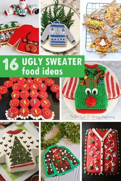 A roundup of ugly sweater food ideas for your ugly sweater Christmas party. Silly fun food ideas for Christmas parties.