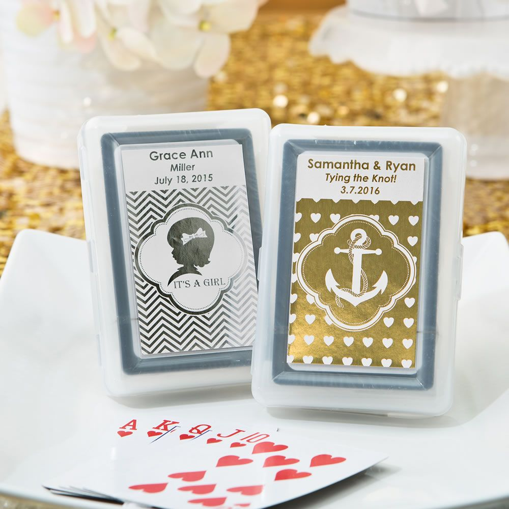 Personalized Metallics Playing Cards Favors w/ Plastic Case ...