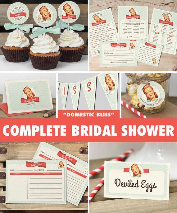 50s housewife bridal shower mega pack instant download retro bridal shower games decorations mint printable diy
