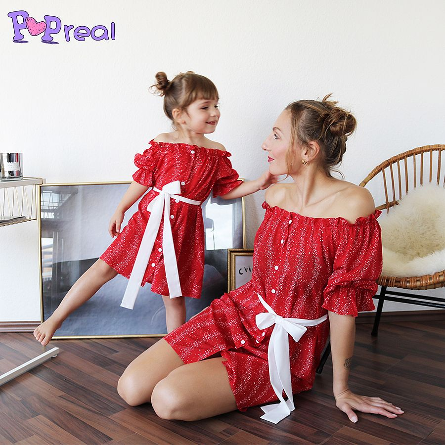 Mom and Me Dresses Floral Print Dresses Off Shoulder Pleated Family Matching Dress