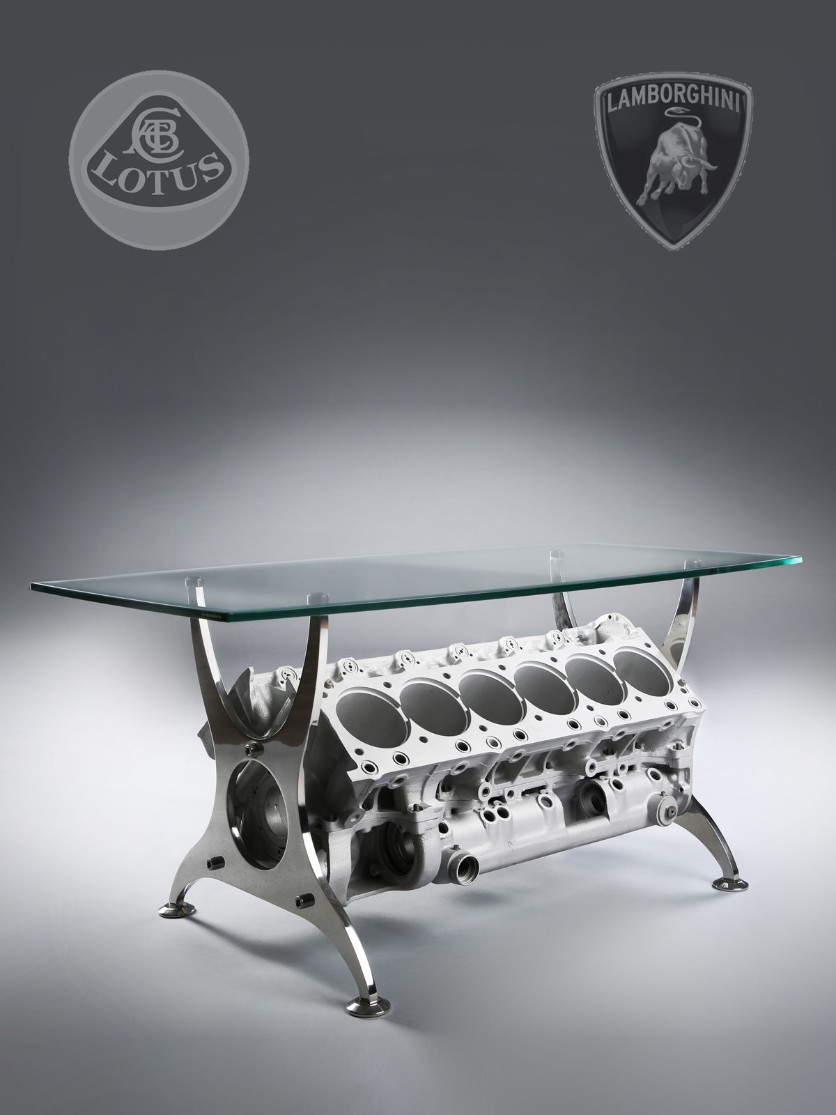 Bespoke Formula 1 Lamborghini Engine Block Table Engine block