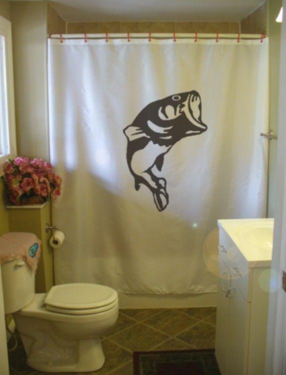 Mancave Bathroom Shower Curtain Camo Fish Kid Decor
