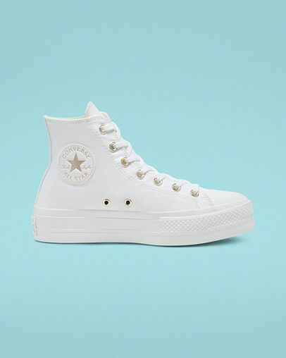 Elevated Gold Platform Chuck Taylor All Star White/White ...