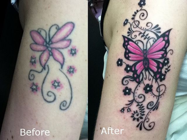 6155decb06b8e butterfly tattoo coverup / touch up | Cover-Up Tattoo Ideas ...
