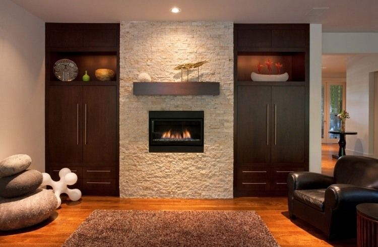 verblendsteine in naturstein-optik für die kaminwand | wohnzimmer, Wohnzimmer