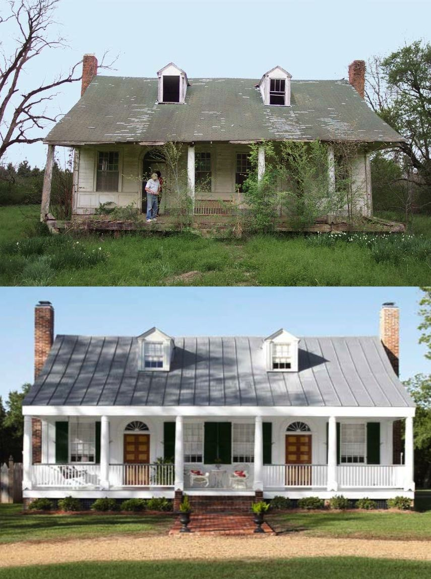 ranch style house remodel before and after home redesign Fachada antes e depois http:--www.countryliving.com-homes-