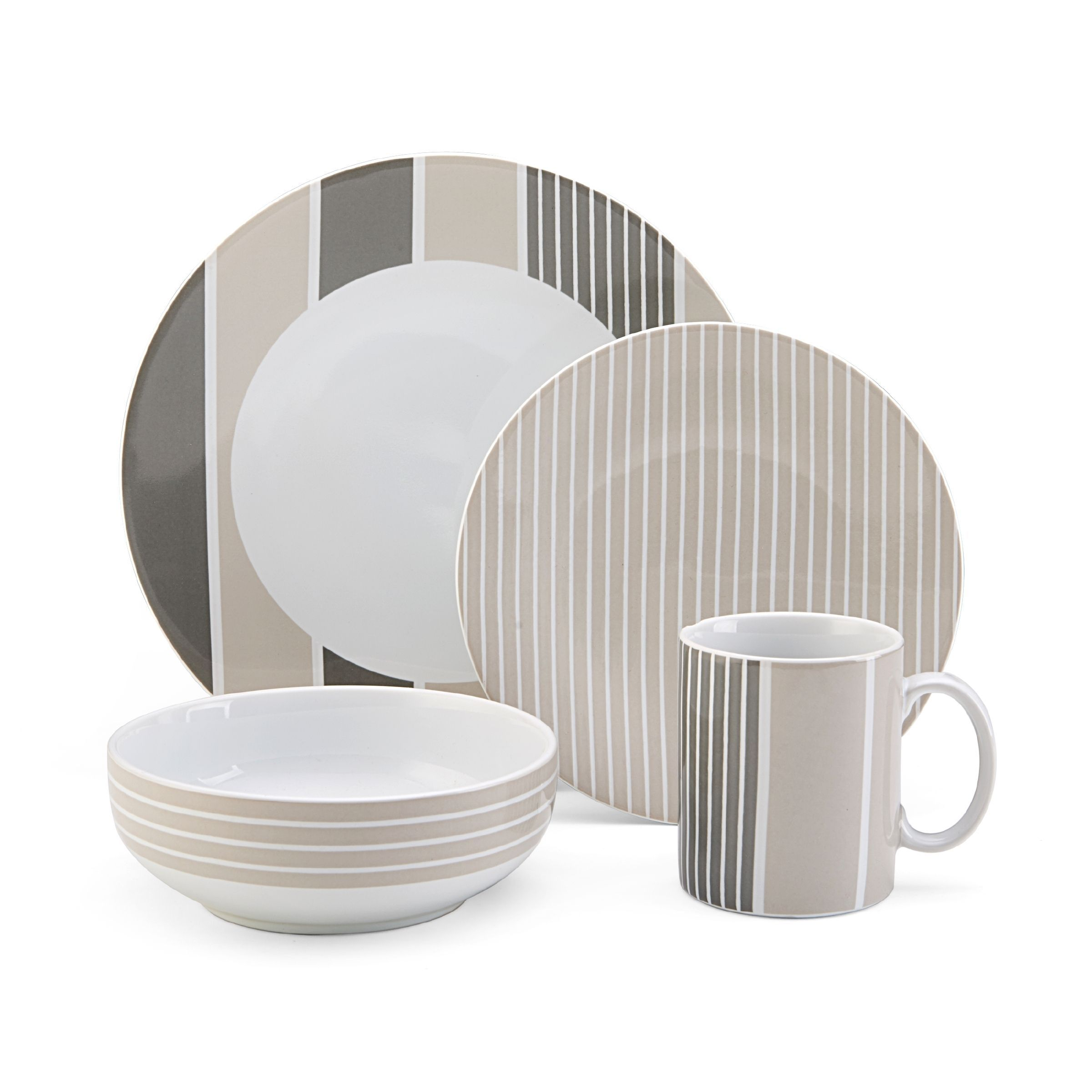 modern plate sets malachite five piece dinner set modern dining  - nautica knots bay taupe piece dinnerware set by nautica