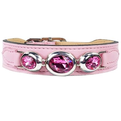 Regal Beauty Sweet Pink Leather Dog Collar is part of Sweet Pink Leather Designer Dog Collar - 8  at the buckle  A comfortable neck measurement of 12  would be a 12   14  collar  A comfortable neck measurement of 15 5  would be a 16   18  collar  Handcrafted in Ontario, Canada