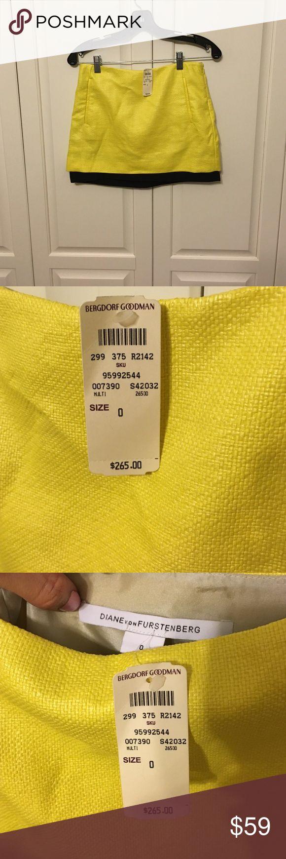 Selling this NWT Diane von Furstenberg Raffia Mini Skirt on Poshmark! My username is: emcg25. #shopmycloset #poshmark #fashion #shopping #style #forsale #dianevonfurstenberg #dvf #Skirts #colorblock #neon #raffia #miniskirt #yellow #black