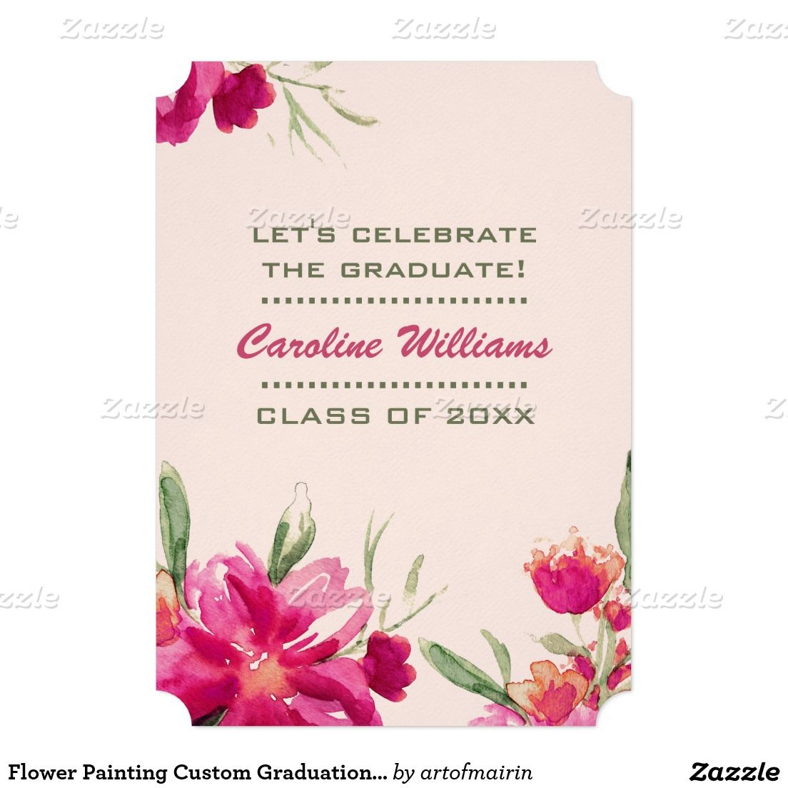 Flower painting custom graduation party invitation party invitations
