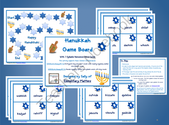 Premise Indicator Words: Hanukkah Nonsense Word Game From Elementary Matters On