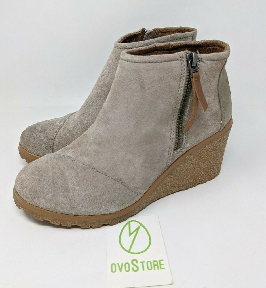 TOMS Women's Avery Ankle Boot Desert Taupe Suede Mix size 6.5 10014068 #Toms #Desert