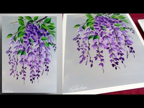step by step peinture pour les d butants peinture acrylique facile violet youtube. Black Bedroom Furniture Sets. Home Design Ideas