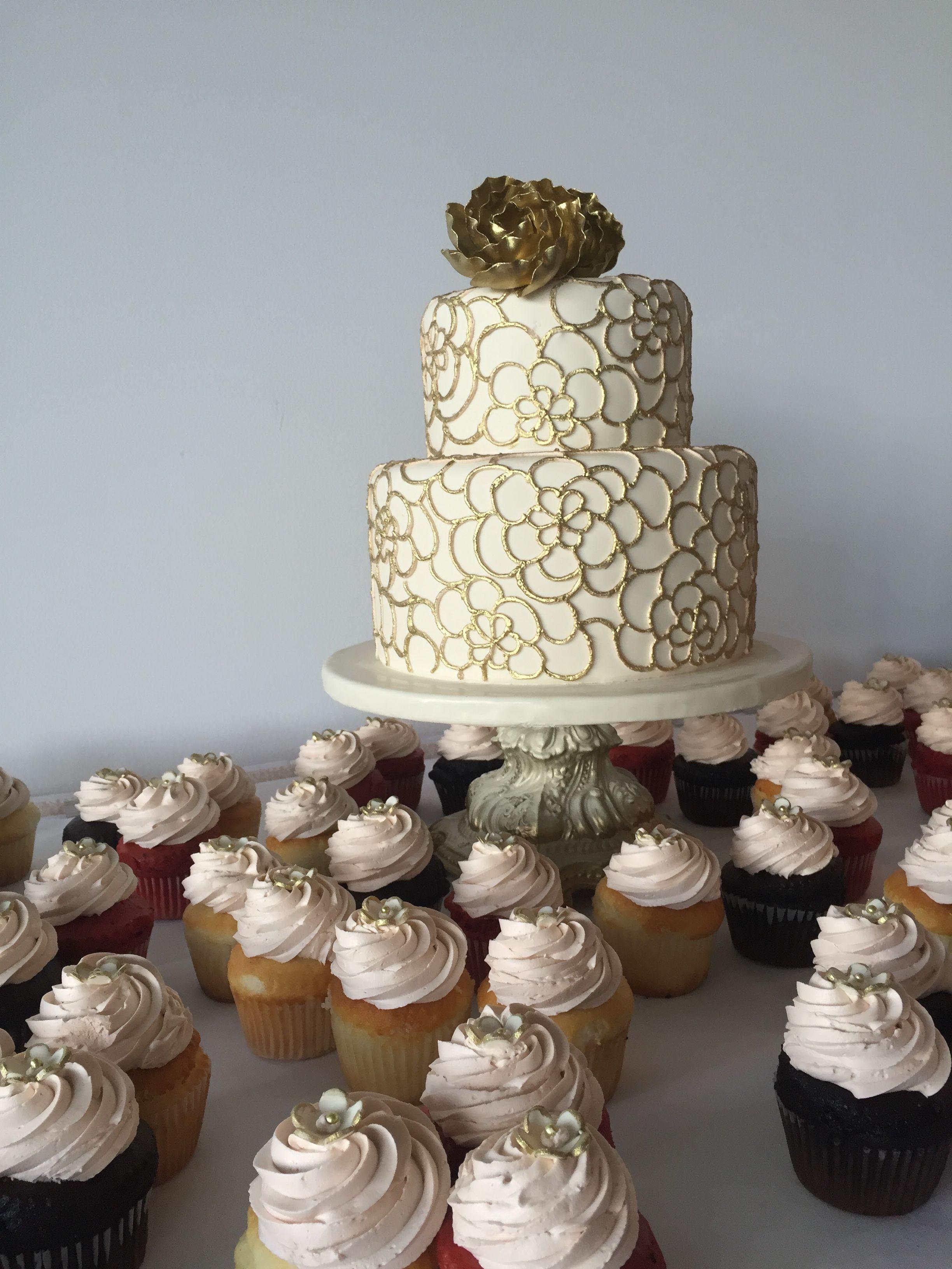 Gold Rose Cake & CupCakes Cake, Cake shop, Rose cake