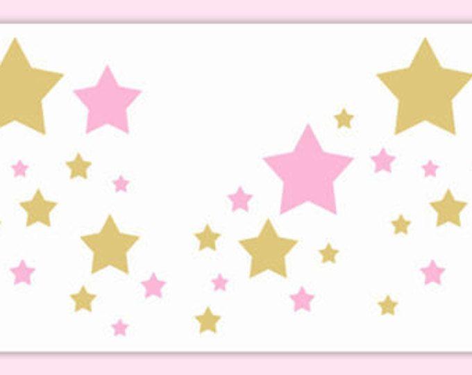 Princess nursery border pink gold star decal baby girl