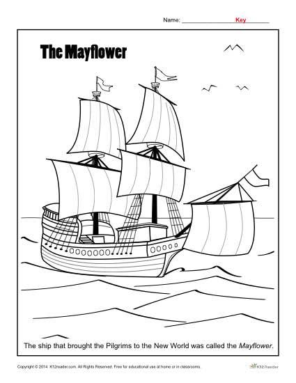 Thanksgiving Coloring Page The Mayflower Thanksgiving Coloring