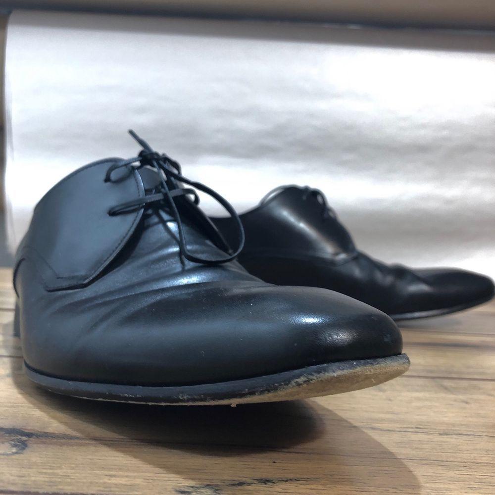 163d283a2de7 Salvatore Ferragamo Studio Mens Size 10.5 Derby Plain Toe shoes Black Italy  EUC  fashion