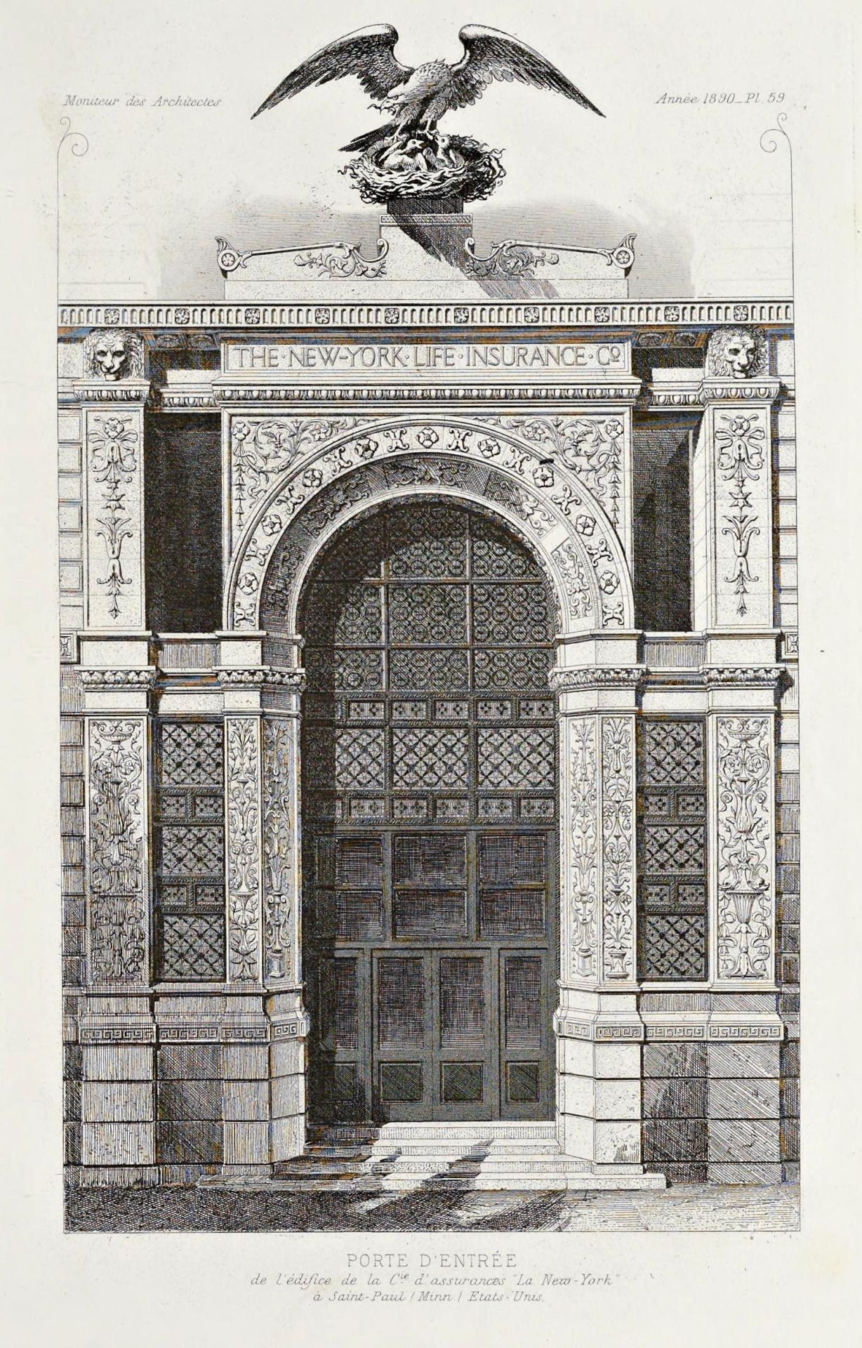 Elevation of the entrance door of the New York Life Insurance Company Building, St. Paul