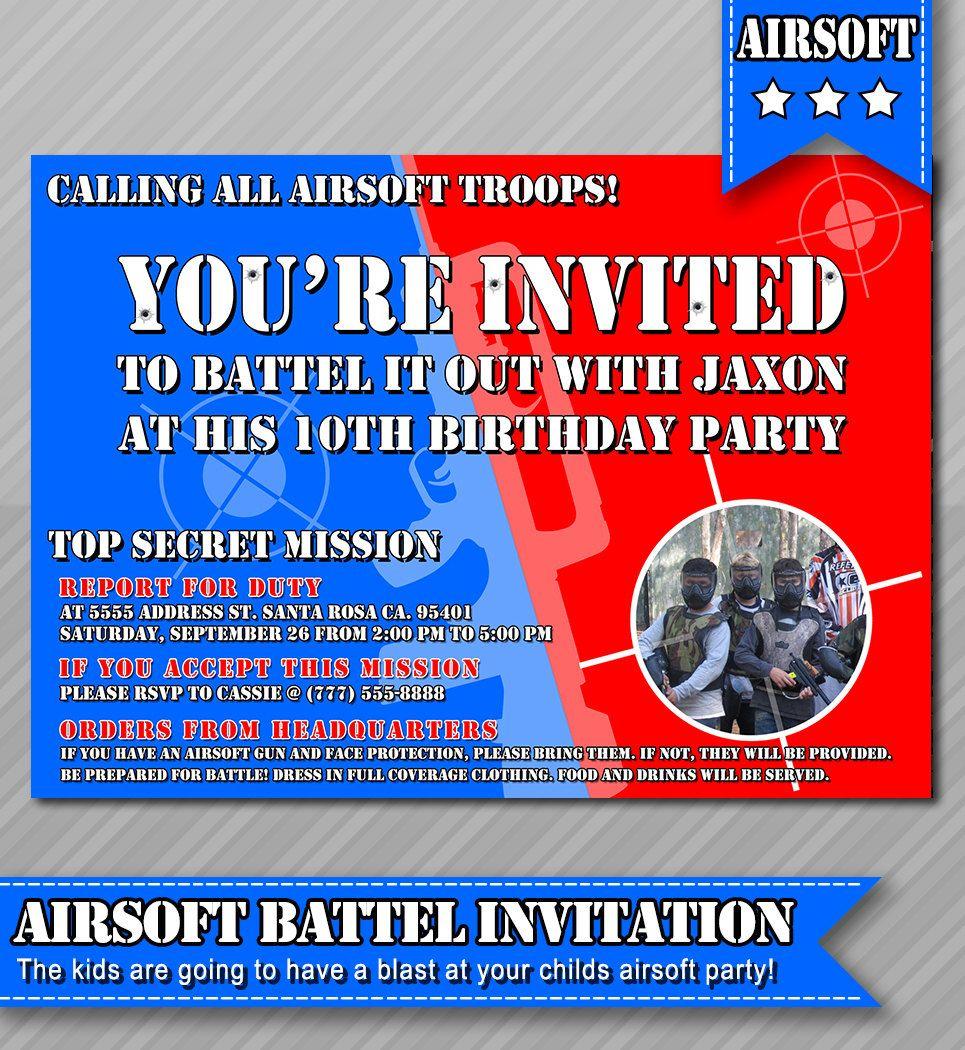 Airsoft Party Invitation Photo Invitation Air soft War  Etsy
