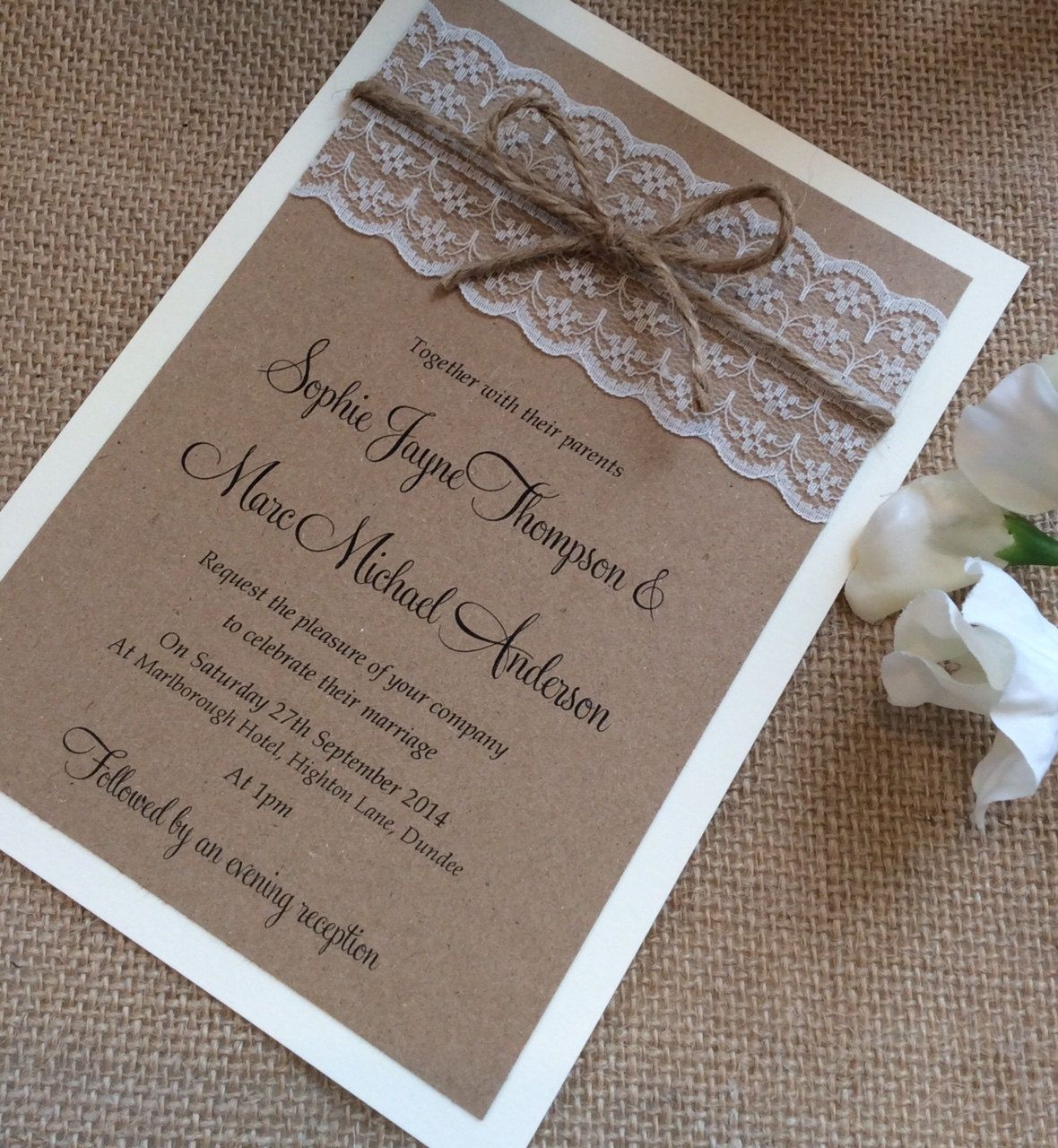 vintage/rustic lace wedding invitation with twine - sophie-lace, Einladungen