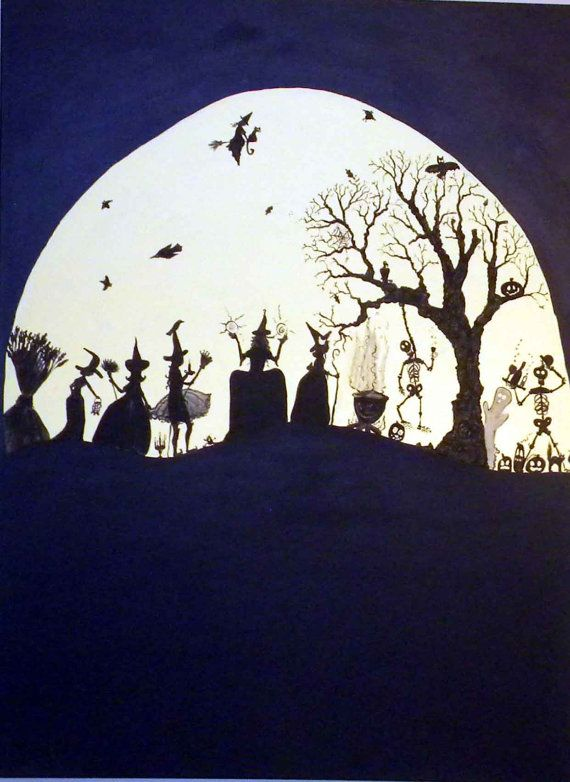 Humongous acrylic halloween folk art painting by - Halloween fensterbilder ...