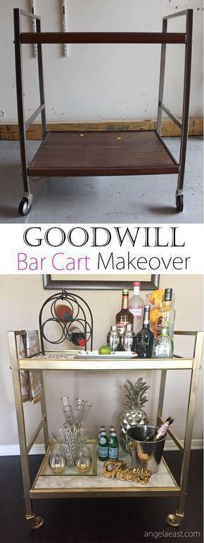 Goodwill Bar Cart Makeover Magasin D Aubaines De Bricolage Bar Bricolage Cart D39aubaines Goodwill Ma Mobilier De Bar Bar Salon Et Diy Meuble