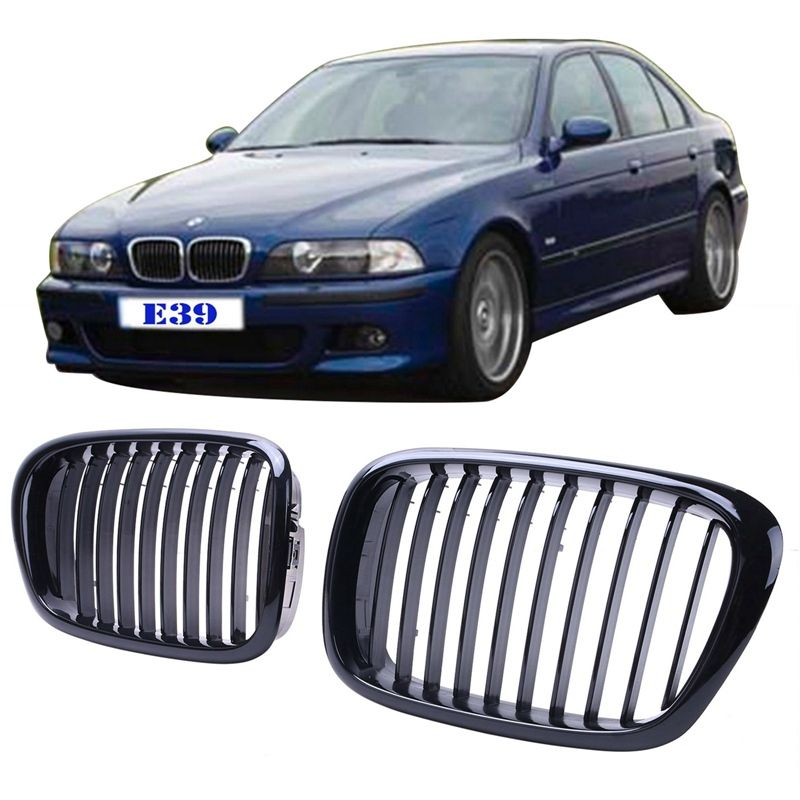 Gloss Black Front Bumper Hood Kidney Grille Grills Replacement For 1997-2003 BMW E39 525i 528i 530i 540i M5
