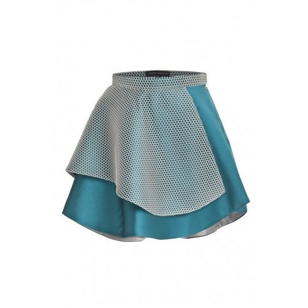 Asymmetrical skirt/ turquoise-silver ❤ liked on Polyvore featuring skirts