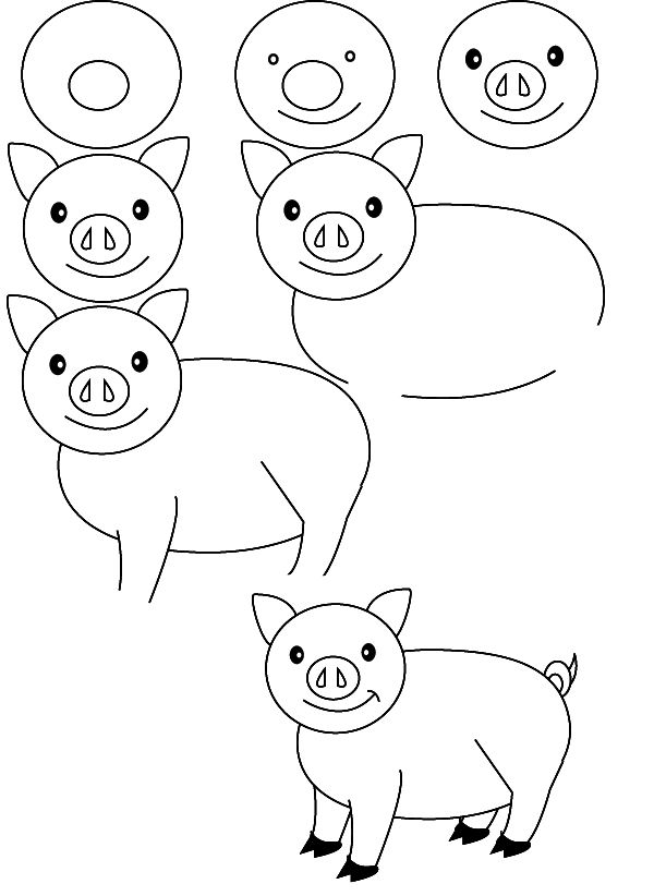 How to draw a pig plus a bunch of other simple drawing instruction for the little ones
