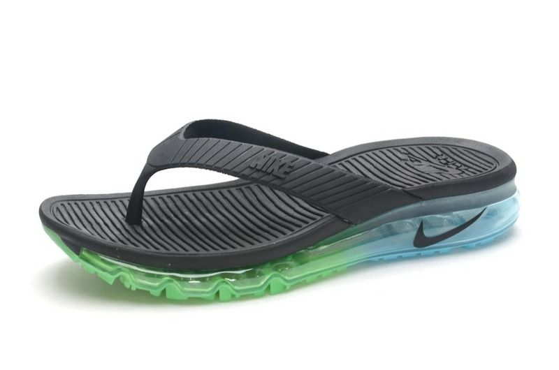 Men Nike Air Max Flip Flops Cheap Nike Sandals Cheap Slides Black Green