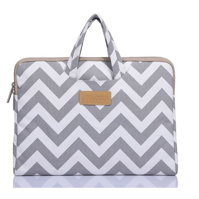 MOSISO 11.6 13.3 15.6inch Canvas Fabric Chevron Laptop Sleeve Case for Macbook Laptop Air Pro Retina 11 13 15inch Notebook Bag