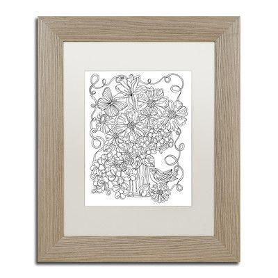 "Trademark Art ""Flower Arrangement"" by Kathy G. Ahrens Framed Graphic Art"