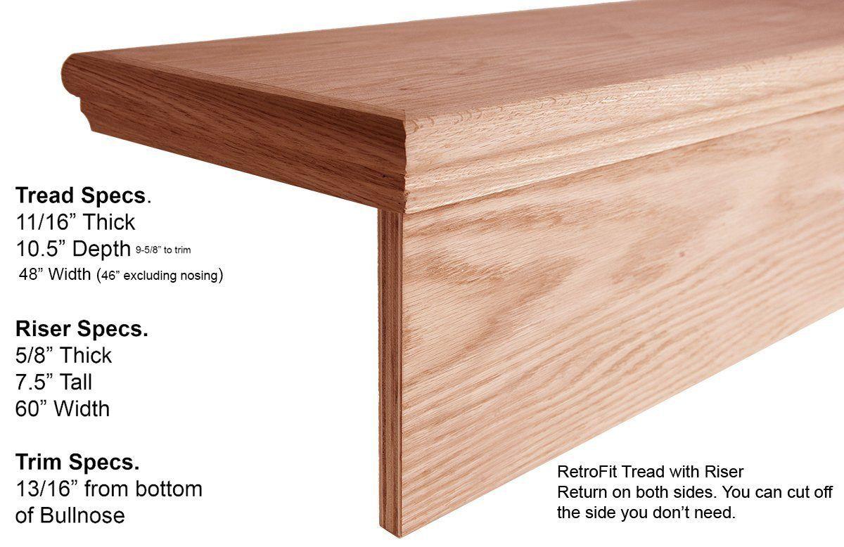 Best 48 Retrofit Return Tread Kit With Riser Remove Carpet Add Hardwood For Stair Remodel Amazon 400 x 300